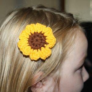Set of two crochet sunflower hair clips NWT
